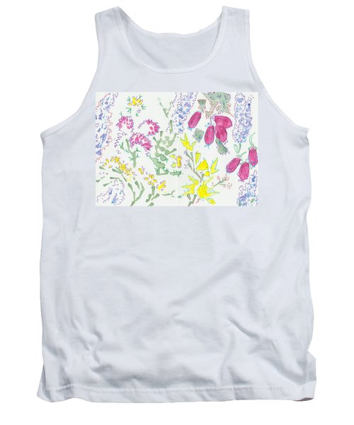 Heather And Gorse Watercolor Illustration Pattern Tank Top