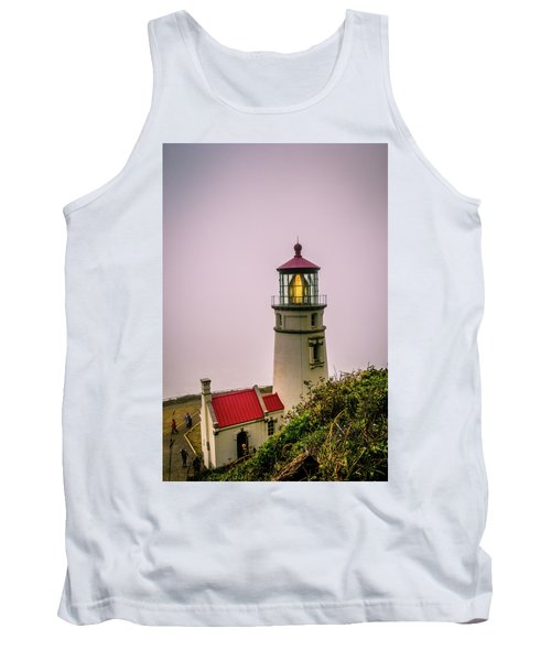 Heceta Head Lighthouse In The Fog Tank Top