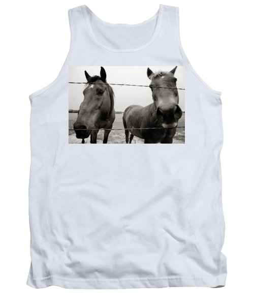 Tank Top featuring the photograph Hello Horses by Toni Hopper