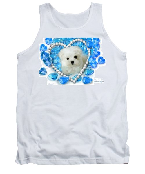 Hermes The Maltese And Blue Hearts Tank Top