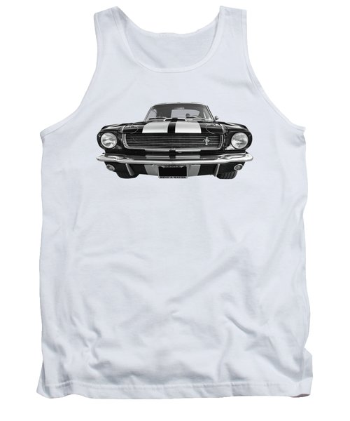 Tank Top featuring the photograph Hertz Rent A Racer Mustang 1966 Black And White by Gill Billington