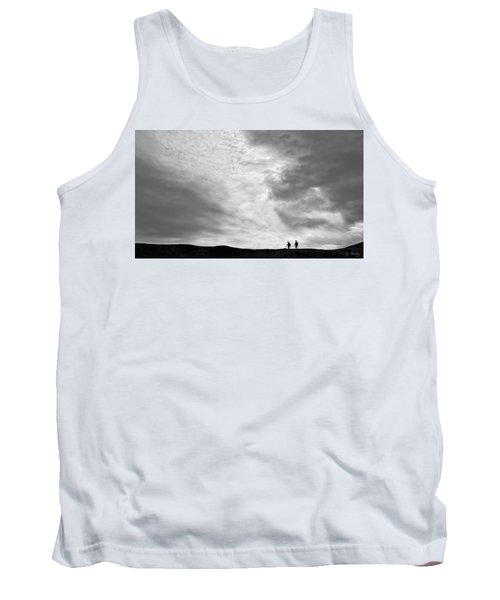 Tank Top featuring the photograph Hikers Under The Clouds by Joe Bonita