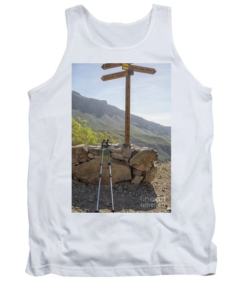 Hiking Poles Resting Near Sign Tank Top by Patricia Hofmeester