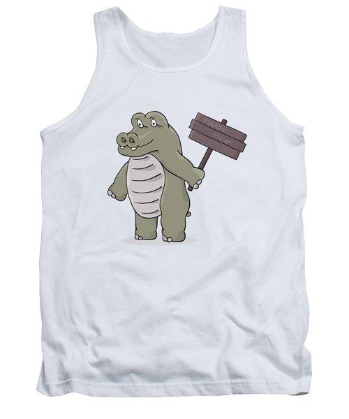 Hippopotamus With Happy Hour Sign Tank Top
