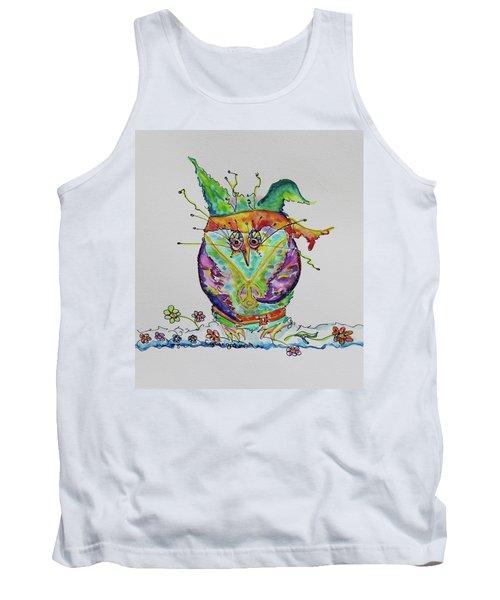 Hippy Owl- Vertical Format Tank Top