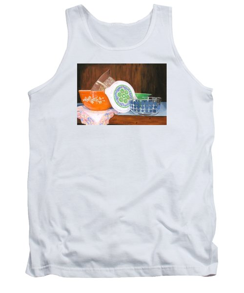 Tank Top featuring the painting History Of Pyrex by Lynne Reichhart