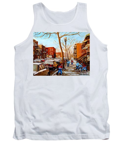 Tank Top featuring the painting Hockey On St Urbain Street by Carole Spandau