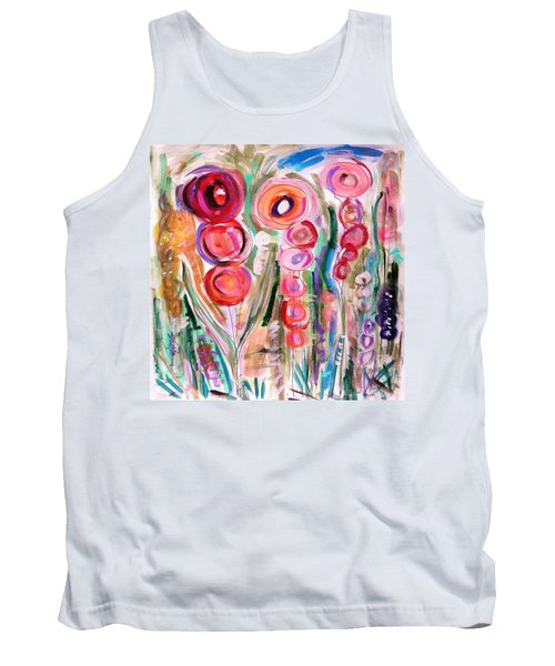 Hollyhocks Of The Garden Tank Top by Mary Carol Williams