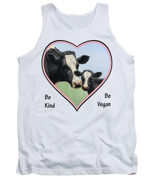 Holstein Cow And Calf Pink Heart Vegan Tank Top