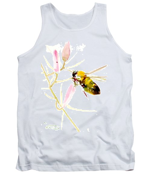 Honey Bee And Pink Flower Tank Top