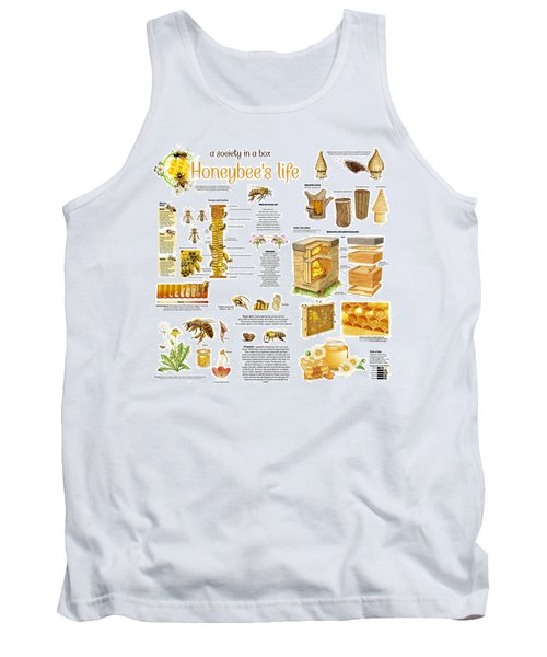 Tank Top featuring the drawing Honey Bees Infographic by Gina Dsgn