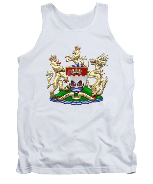 Hong Kong - 1959-1997 Coat Of Arms Over White Leather  Tank Top by Serge Averbukh