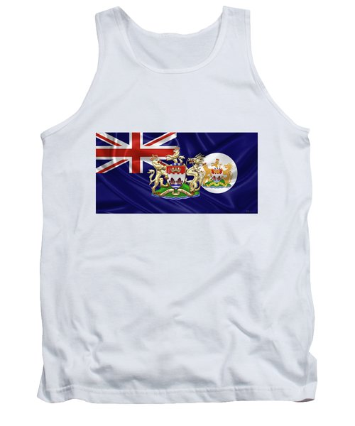 Hong Kong - 1959-1997 Historical Coat Of Arms Over British Hong Kong Flag  Tank Top