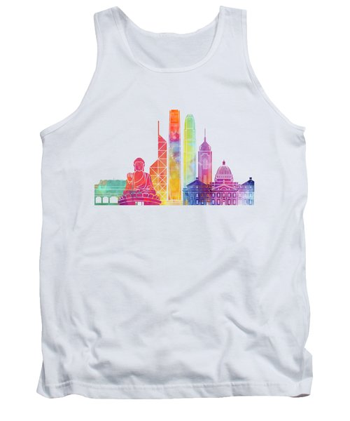 Hong Kong Landmarks Watercolor Poster Tank Top