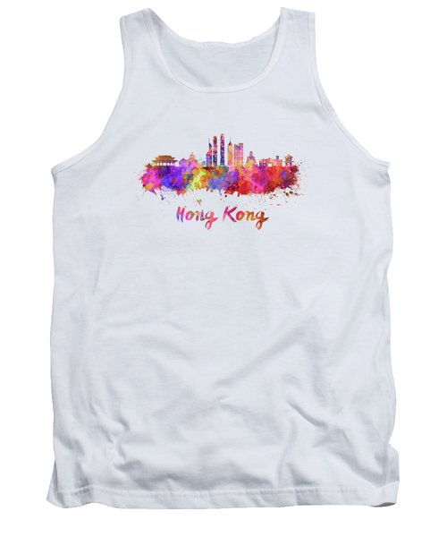 Hong Kong V2 Skyline In Watercolor Tank Top by Pablo Romero
