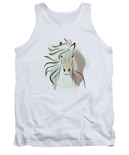 Horse Wall Art - Elegant Bright Pastel Color Animals Tank Top by Wall Art Prints