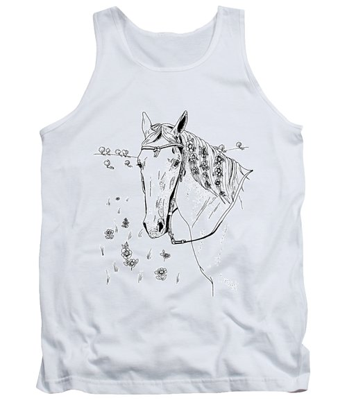 Horse With Flowers In Mane Tank Top