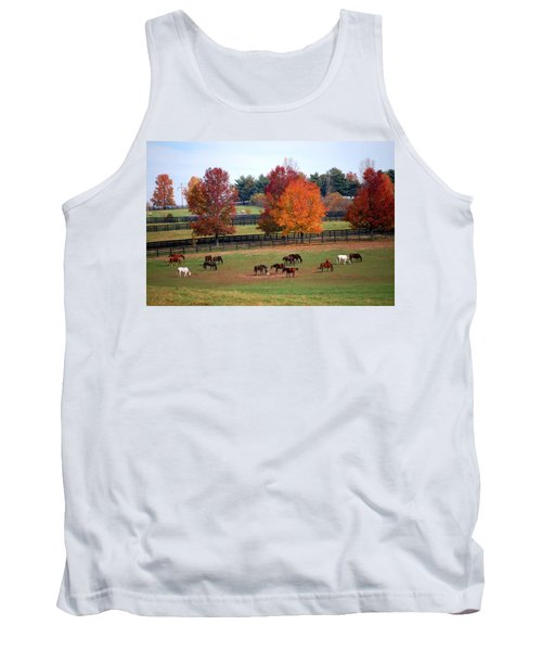 Tank Top featuring the photograph Horses Grazing In The Fall by Sumoflam Photography