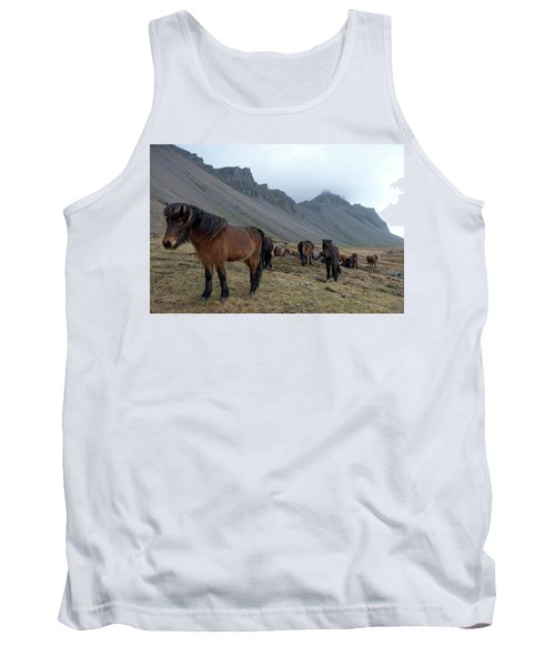 Tank Top featuring the photograph Horses Near Vestrahorn Mountain, Iceland by Dubi Roman