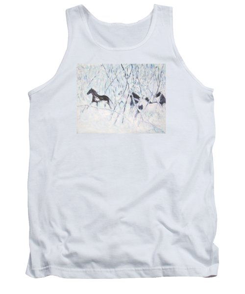 Horses Running In Ice And Snow Tank Top