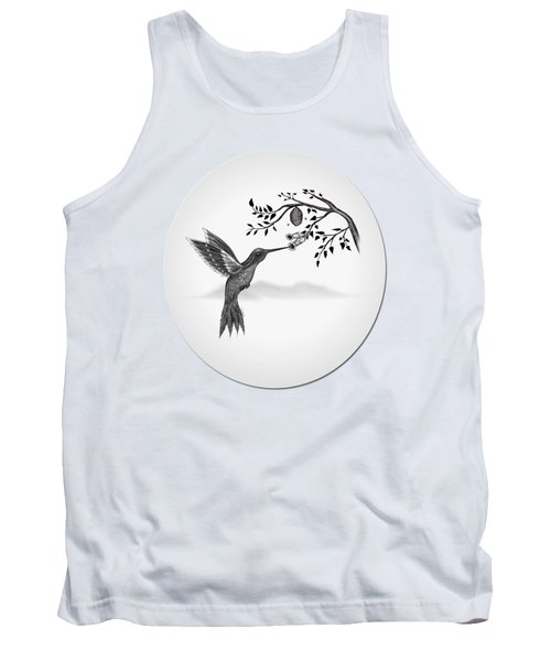 Humming Bird On Oval Tank Top