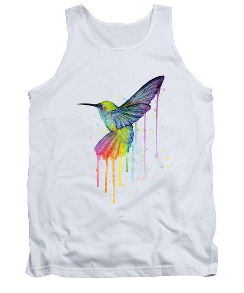 Hummingbird Of Watercolor Rainbow Tank Top