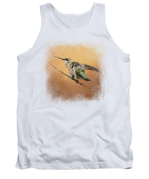 Hummingbird On Peach Tank Top