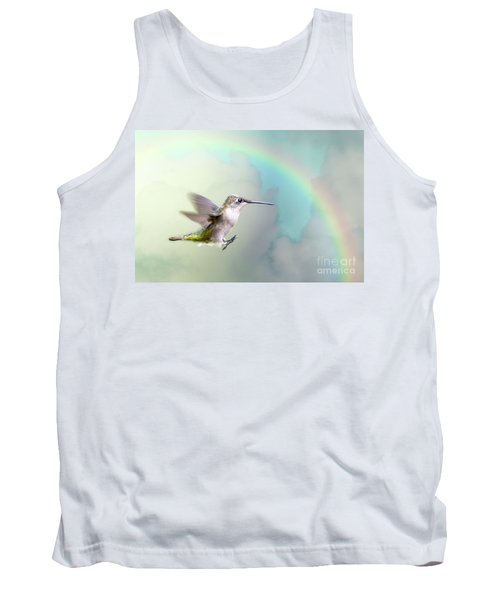 Tank Top featuring the photograph Hummingbird Under Rainbow by Bonnie Barry