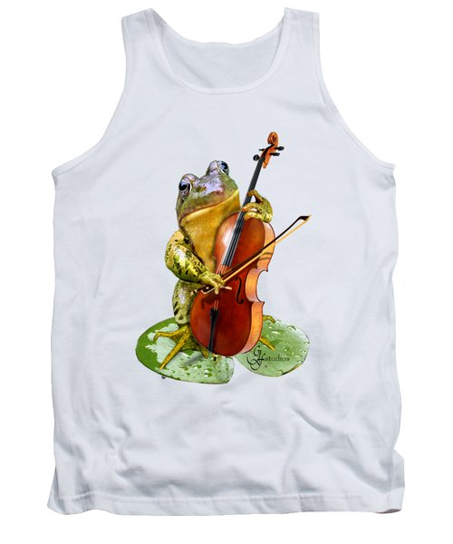 Humorous Scene Frog Playing Cello In Lily Pond Tank Top