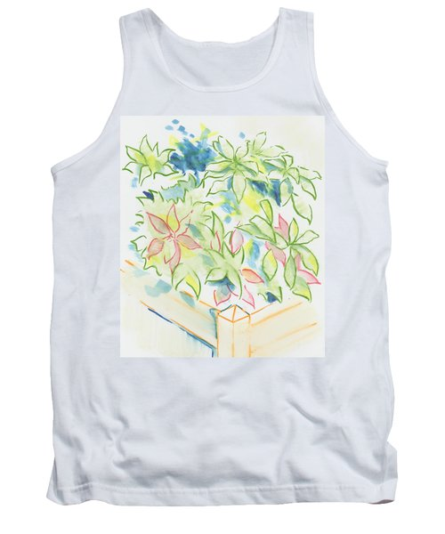 Hydrangea Plant Growing Out Of A Square Wooden Planter Tank Top