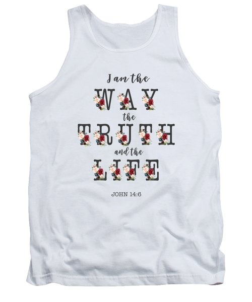 Tank Top featuring the painting I Am The Way The Truth And The Life Typography by Georgeta Blanaru