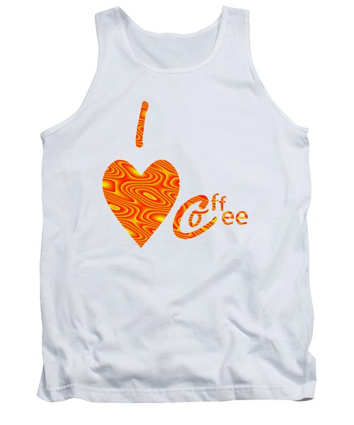 I Love Coffee Peach And Yellow Tank Top by Kathleen Sartoris