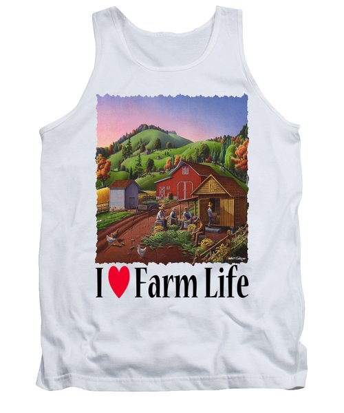 I Love Farm Life - Farmers Shucking Corn - Corncrib - Corn Crib - Farm Landscape 2 Tank Top
