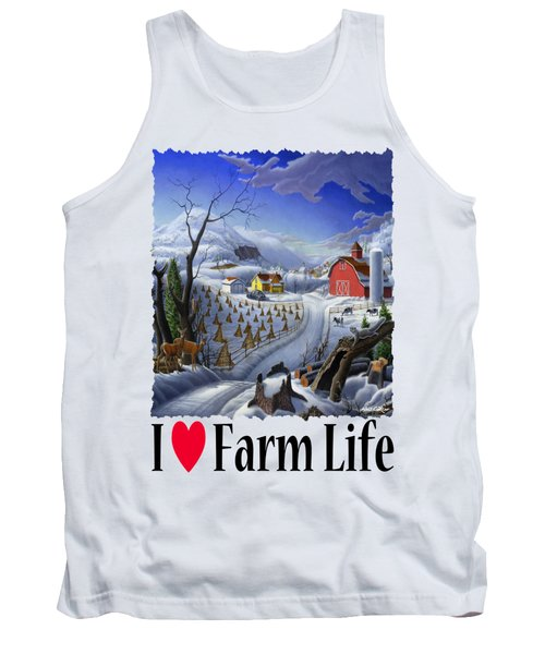 I Love Farm Life - Rural Winter Country Farm Landscape Tank Top