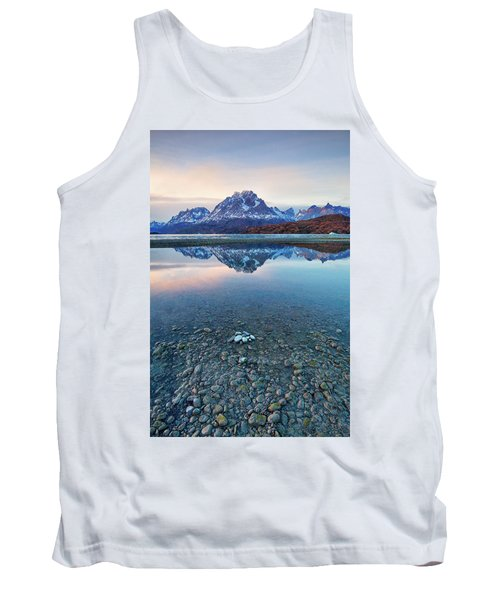 Tank Top featuring the photograph Icebergs And Mountains Of Torres Del Paine National Park by Phyllis Peterson