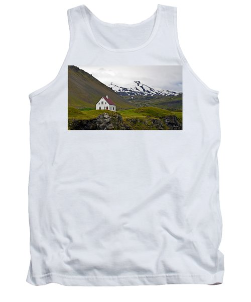 Tank Top featuring the photograph Iceland House And Glacier by Joe Bonita