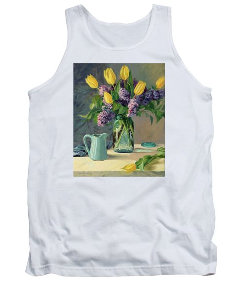 Ideal - Yellow Tulips And Lilacs In A Blue Mason Jar Tank Top by Bonnie Mason