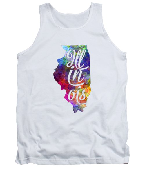 Illinois Us State In Watercolor Text Cut Out Tank Top
