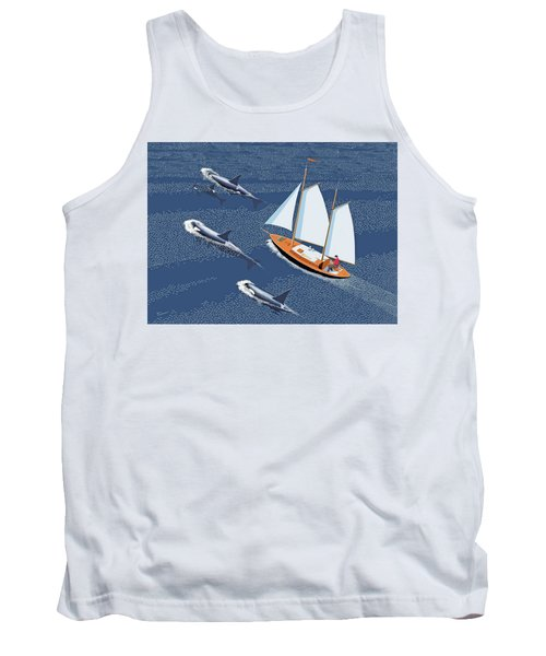 Tank Top featuring the digital art In The Company Of Whales by Gary Giacomelli