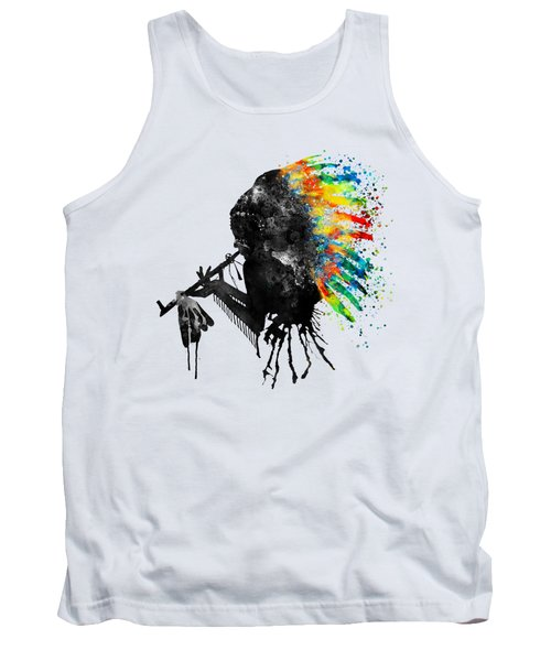 Indian Silhouette With Colorful Headdress Tank Top