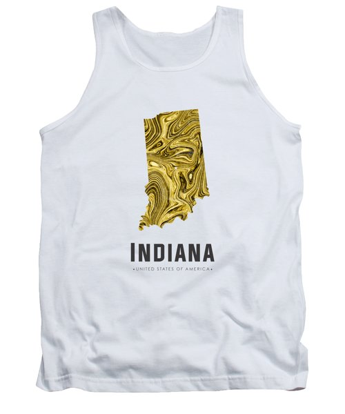 Indiana Map Art Abstract In Gold Yellow Tank Top