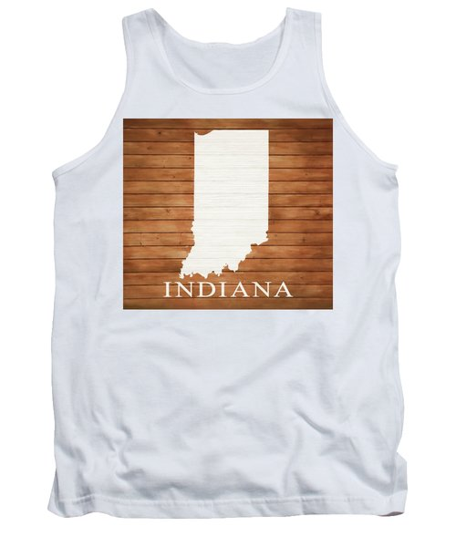 Indiana Rustic Map On Wood Tank Top