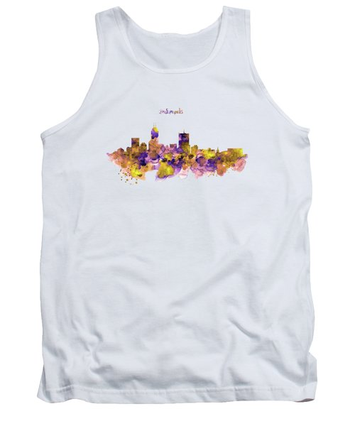 Indianapolis Skyline Silhouette Tank Top by Marian Voicu