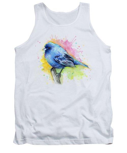 Indigo Bunting Blue Bird Watercolor Tank Top by Olga Shvartsur