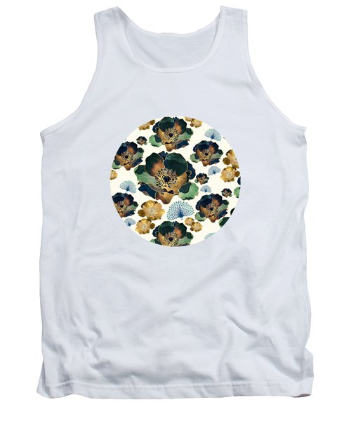 Indigo Flowers And Peacocks Tank Top