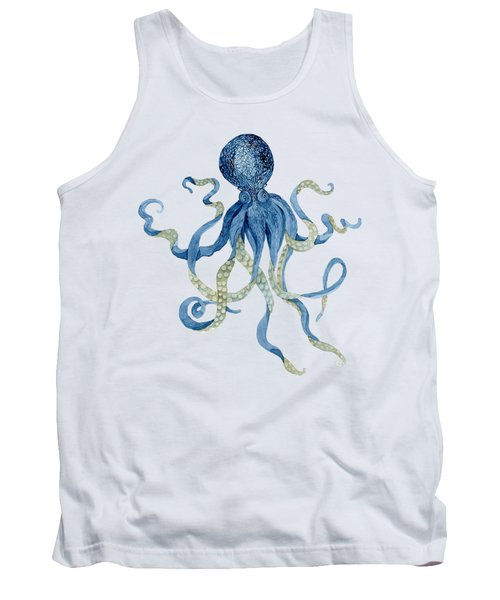 Indigo Ocean Blue Octopus  Tank Top