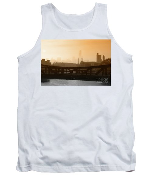 Industrial Foggy Chicago Skyline Tank Top