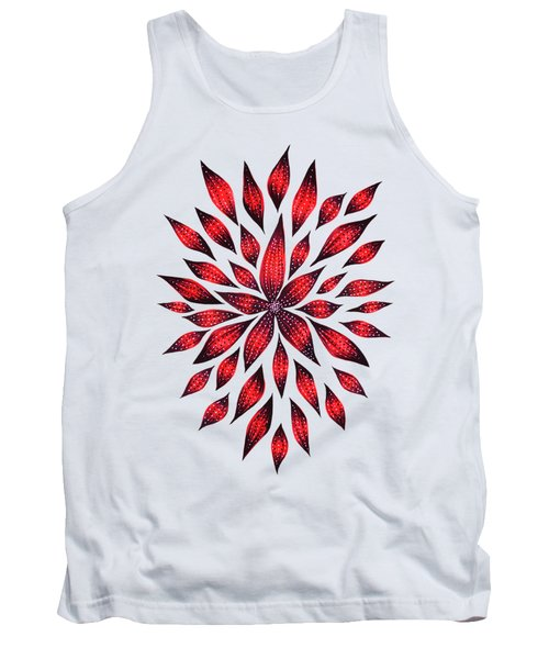 Ink Drawn Abstract Red Doodle Flower Tank Top