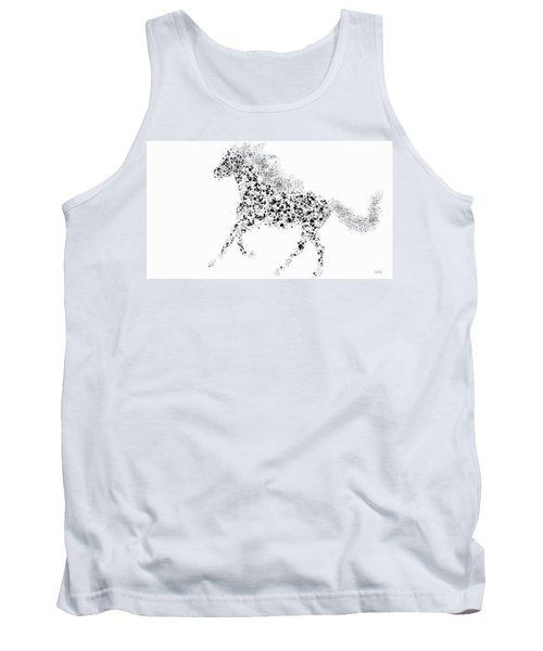 Tank Top featuring the drawing Ink Splattered Stallion by Nick Gustafson