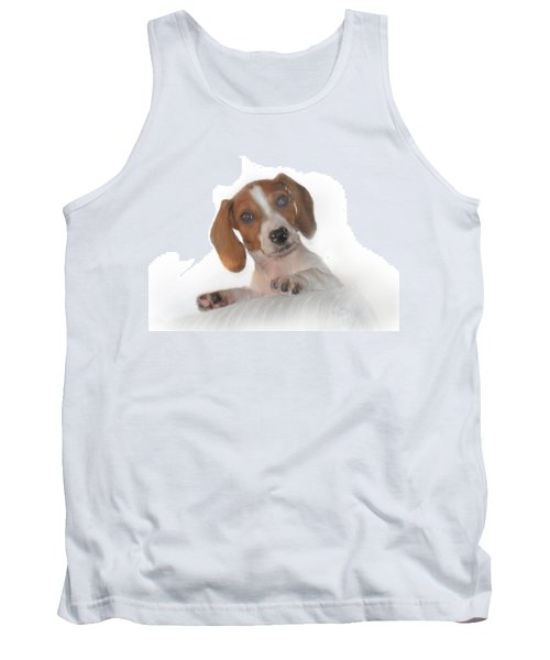 Tank Top featuring the photograph Inquisitive Dachshund by David and Carol Kelly